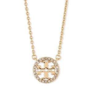 Tory Burch • Gold Crystal Circle Logo Necklace